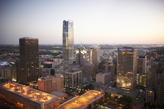 Oklahoma City skyline at twilight (Wikimedia Commons)